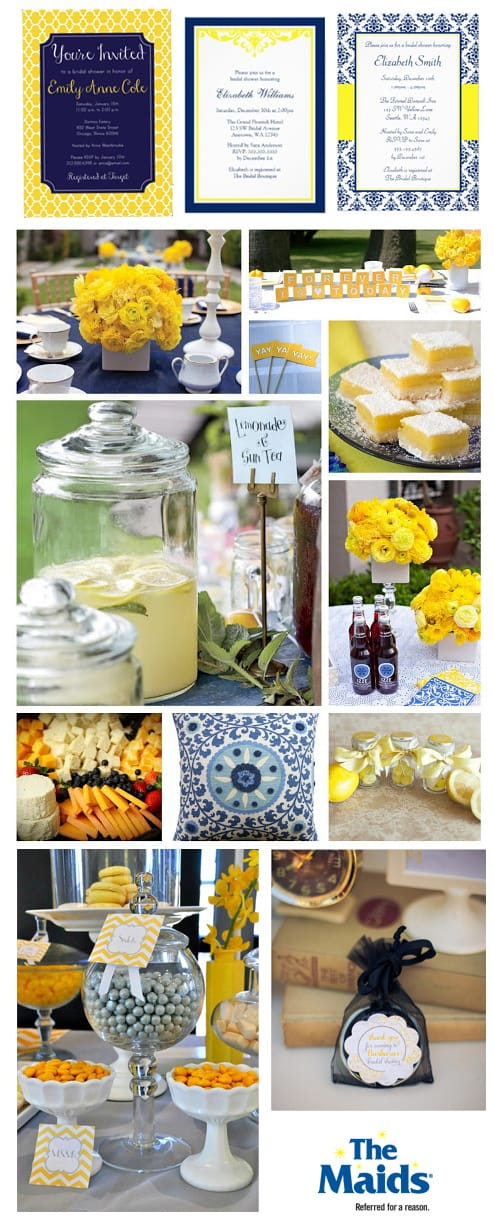 Spark your creativity and throw your bride-to-be a blue and yellow bridal shower that her and her guests will love.