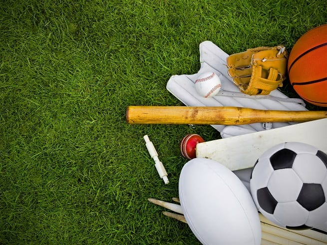 4_sports equipment on grass, football, rugby, baseball, cricket, basketball