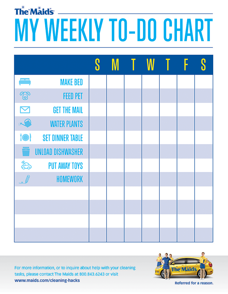 picture about Chore Chart Printable titled Very simple-toward-Hire, Very simple Weekly Chore Chart for Children against The Maids
